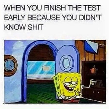 When you finish the test early because you didn't know shit
